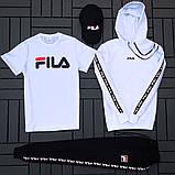 Fila мужской белый спортивный костюм с капюшоном осень.Комплектом дешевле! 2 кофты+штаны+ кепка + футболка), фото 5