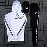 Fila мужской белый спортивный костюм с капюшоном осень.Комплектом дешевле! 2 кофты+штаны+ кепка + футболка), фото 10