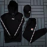 Fila мужской черный спортивный костюм с капюшоном осень.Комплектом дешевле! 2 кофты+штаны+ кепка + футболка), фото 2