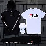 Fila мужской черный спортивный костюм с капюшоном осень.Комплектом дешевле! 2 кофты+штаны+ кепка + футболка), фото 4