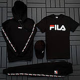Fila мужской черный спортивный костюм с капюшоном осень.Комплектом дешевле! 2 кофты+штаны+ кепка + футболка), фото 5