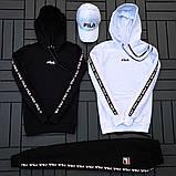 Fila мужской черный спортивный костюм с капюшоном осень.Комплектом дешевле! 2 кофты+штаны+ кепка + футболка), фото 9