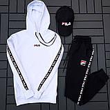 Fila мужской белый спортивный костюм с капюшоном осень.Комплектом дешевле! 2 кофты+штаны+ кепка + футболка), фото 3