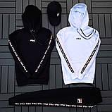 Fila мужской белый спортивный костюм с капюшоном осень.Комплектом дешевле! 2 кофты+штаны+ кепка + футболка), фото 4