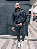 Мужской спортивный костюм весна-осень с капюшоном,цвет серый с черным лампасом, фото 3