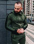 Мужской спортивный костюм весна-осень с капюшоном,цвет серый с черным лампасом, фото 6