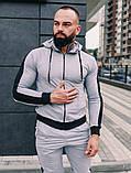 Мужской спортивный костюм весна-осень с капюшоном,цвет серый с черным лампасом, фото 9