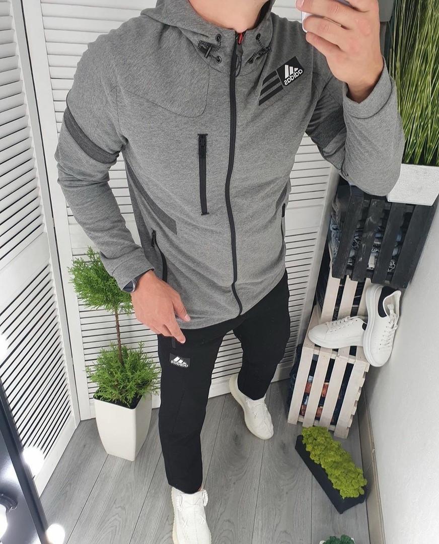 Adidas мужской серый спортивный костюм с капюшоном осень весна. Олимпийка Adidas серый штаны Adidas черные