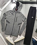 Adidas мужской серый спортивный костюм с капюшоном осень весна. Олимпийка Adidas серый штаны Adidas черные, фото 2