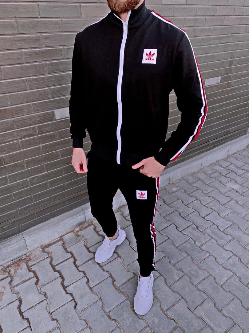 Adidas мужской черный спортивный костюм весна-осень. Кофта и штаны Adidas черные с лампасами