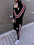 Adidas мужской черный спортивный костюм весна-осень. Кофта и штаны Adidas черные с лампасами, фото 2