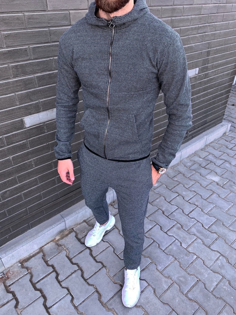 Мужской серый спортивный костюм весна-осень. Худи + спортивные штаны серые по доступной цене