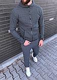 Мужской серый спортивный костюм весна-осень. Худи + спортивные штаны серые по доступной цене, фото 2