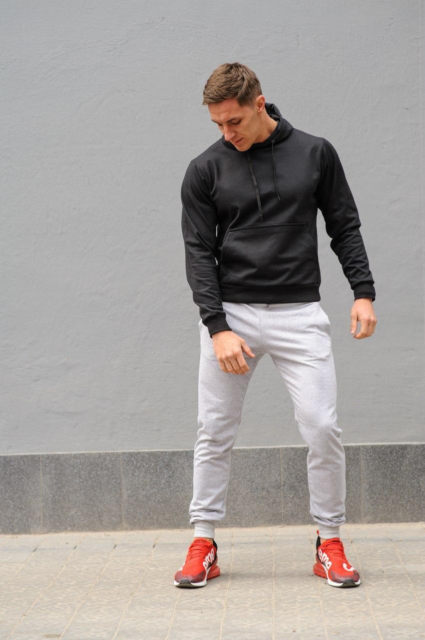 Мужской комбинированый спортивный костюм весна-осень. Худи черное + штаны белые