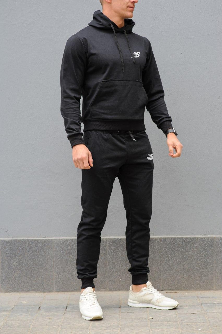 New Balance Мужской черный спортивный костюм осень-весна.Кофта New Balance черная + штаны New Balance черные