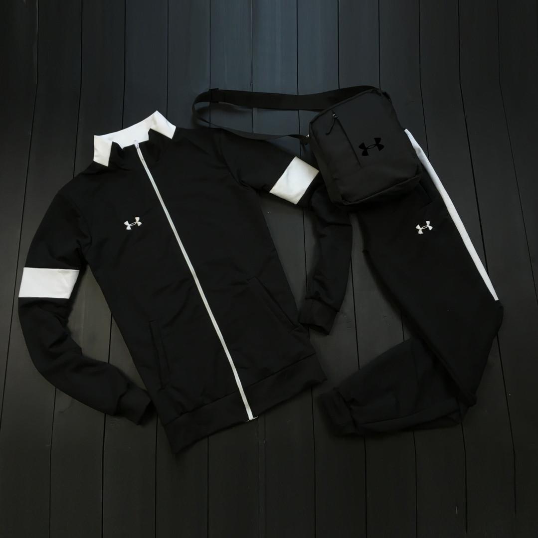 Under Armour мужской черный спортивный костюм на молнии осень. Under Armour Поло +штаны +сумка черные комплект