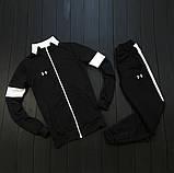Under Armour мужской черный спортивный костюм на молнии осень. Under Armour Поло +штаны +сумка черные комплект, фото 2