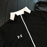 Under Armour мужской черный спортивный костюм на молнии осень. Under Armour Поло +штаны +сумка черные комплект, фото 3