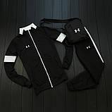 Under Armour мужской черный спортивный костюм на молнии осень. Under Armour Поло +штаны +сумка черные комплект, фото 6