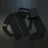 Under Armour мужской черный спортивный костюм на молнии осень. Under Armour Поло +штаны +сумка черные комплект, фото 8