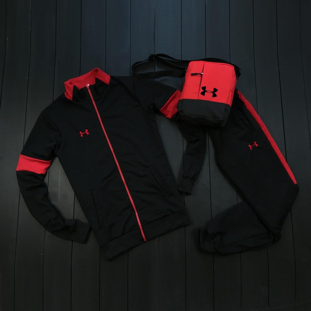 Under Armour мужской черный с красным спортивный костюм на молнии осень.Under Armour Поло+штаны+сумка комплект