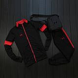 Under Armour мужской черный с красным спортивный костюм на молнии осень.Under Armour Поло+штаны+сумка комплект, фото 2