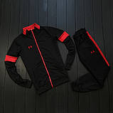 Under Armour мужской черный с красным спортивный костюм на молнии осень.Under Armour Поло+штаны+сумка комплект, фото 5