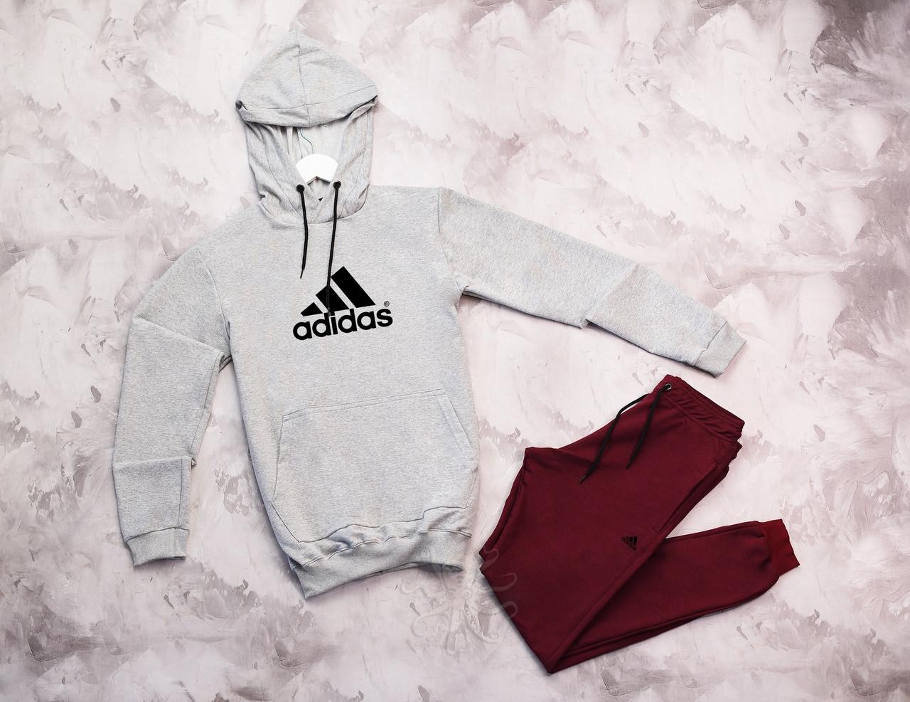 Adidas  мужской серый спортивный костюм с капюшоном весна осень.Adidas Худи серое +штаны бордовые комплект