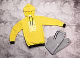 Adidas  мужской лимонный спортивный костюм с капюшоном весна осень.Adidas Худи лимон + штаны серые комплект, фото 2