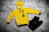 Adidas  мужской лимонный спортивный костюм с капюшоном весна осень.Adidas Худи лимон + штаны серые комплект, фото 4