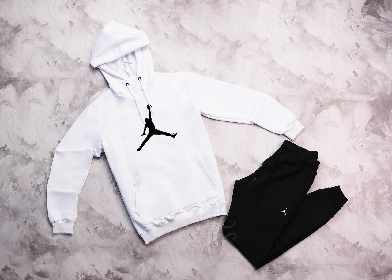 Jordan  мужской белый + черный спортивный костюм с капюшоном весна осень.Jordan Худи белое Jordan штаны черные