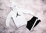 Jordan  мужской белый + черный спортивный костюм с капюшоном весна осень.Jordan Худи белое Jordan штаны черные, фото 4