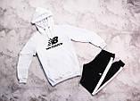 New Balancе мужской белый спортивный костюм с капюшоном весна осень. New Balancе Худи белое штаны черные, фото 4