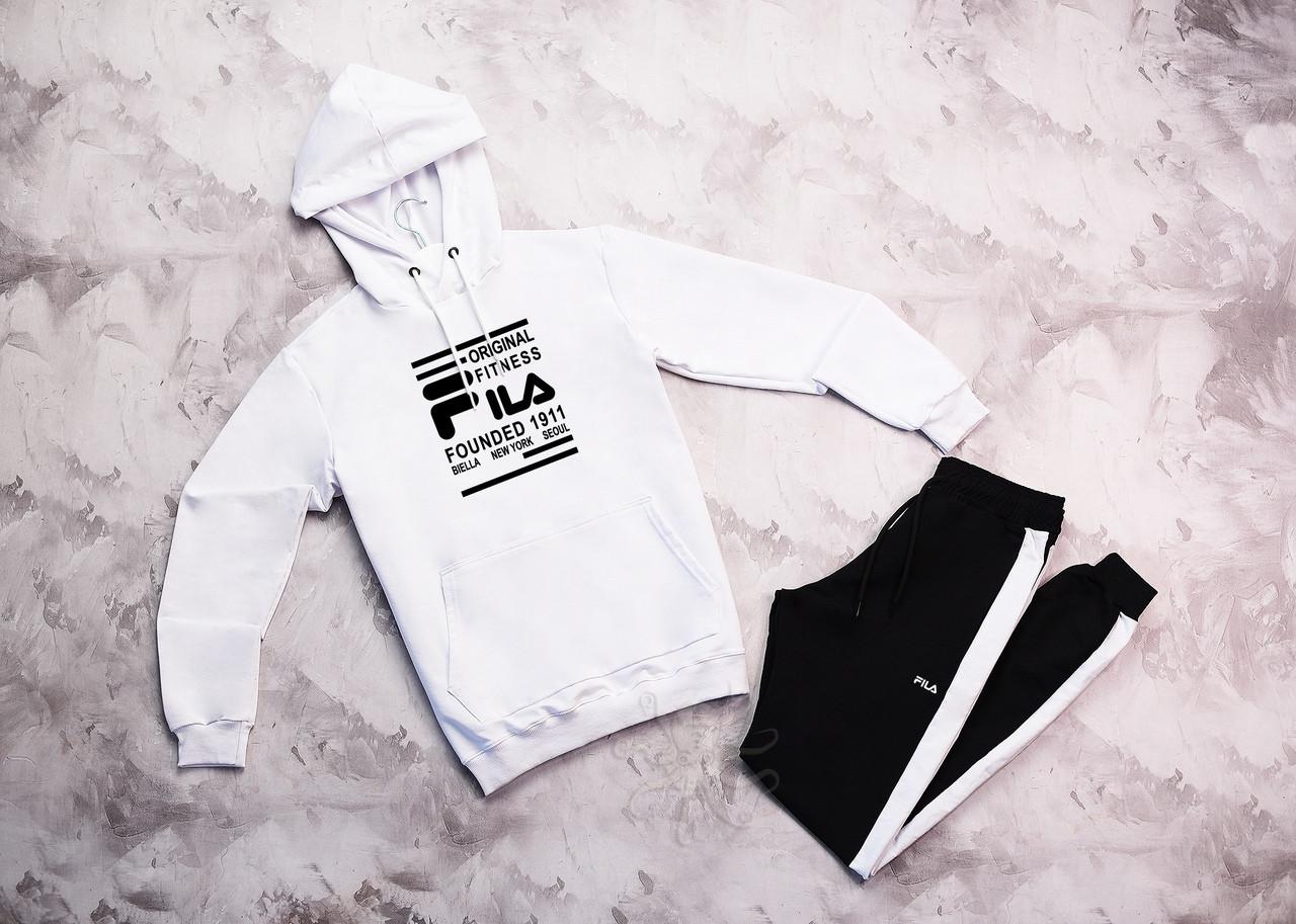 Fila мужской белый + черный спортивный костюм с капюшоном весна осень.Fila Худи белое штаны черные с полосами