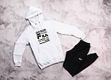 Fila мужской белый + черный спортивный костюм с капюшоном весна осень.Fila Худи белое штаны черные с полосами, фото 2