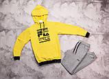 Fila мужской белый + черный спортивный костюм с капюшоном весна осень.Fila Худи белое штаны черные с полосами, фото 4