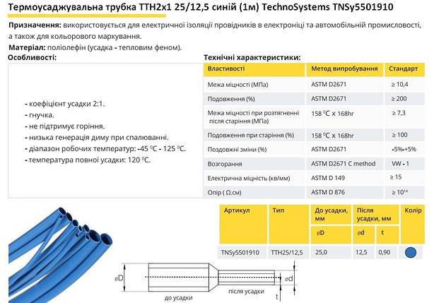 Термоусадочная трубка ТТН2х1 25/12.5 синяя 1 метр TechnoSystems TNSy5501910, фото 2