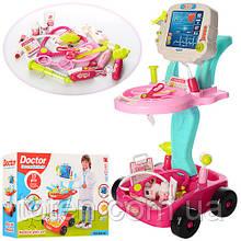Набор доктора 17 предметов на тележке, звук, свет, на батарейках детский игровой  660-45-46
