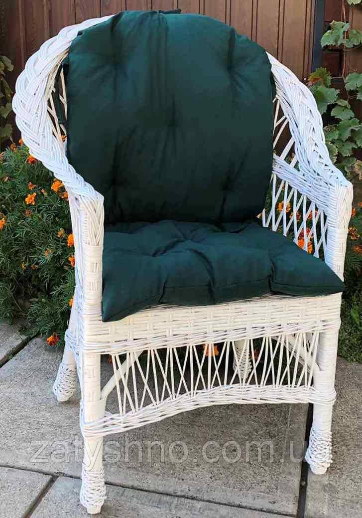Кресло плетеное с натуральной лозы с накидкой