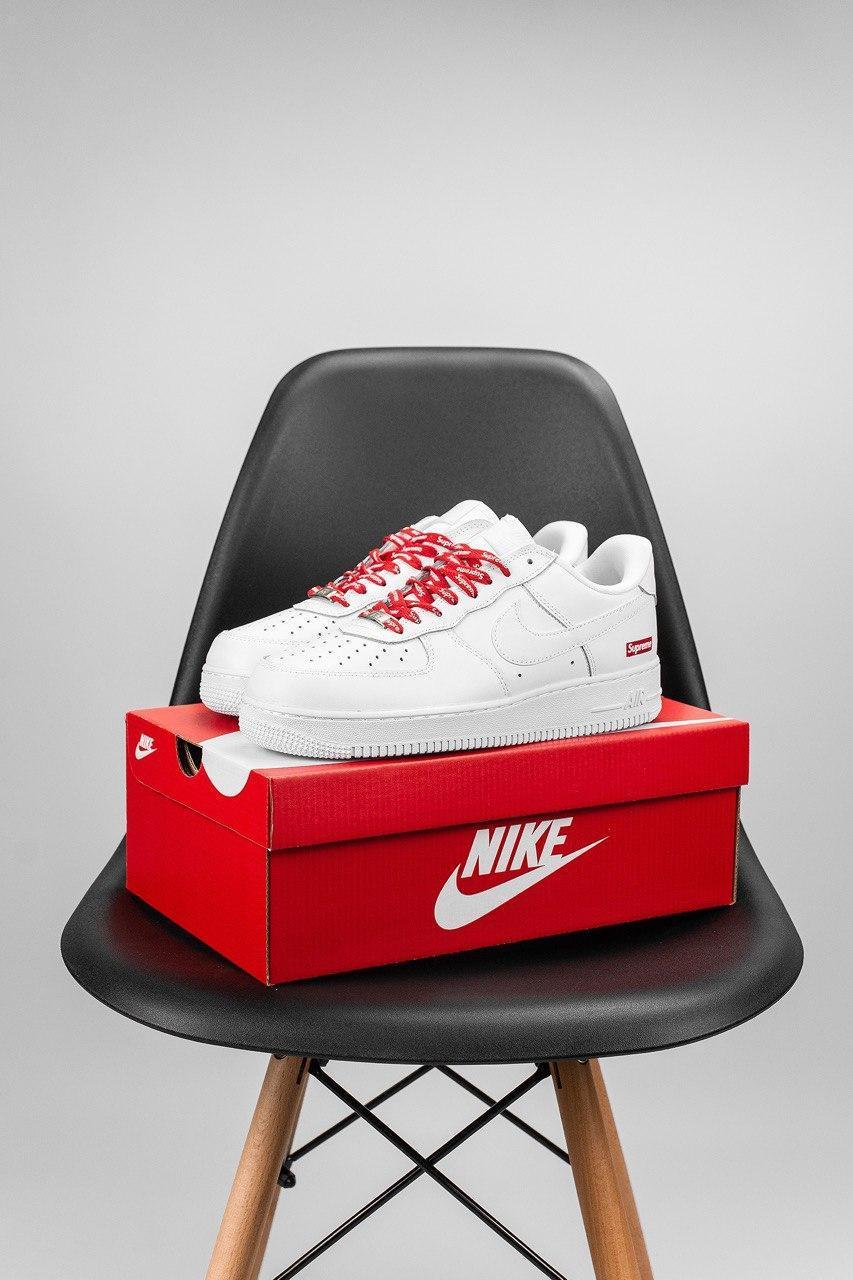 Женские белые Кроссовки Nike Air Force 1Superme(реплика)