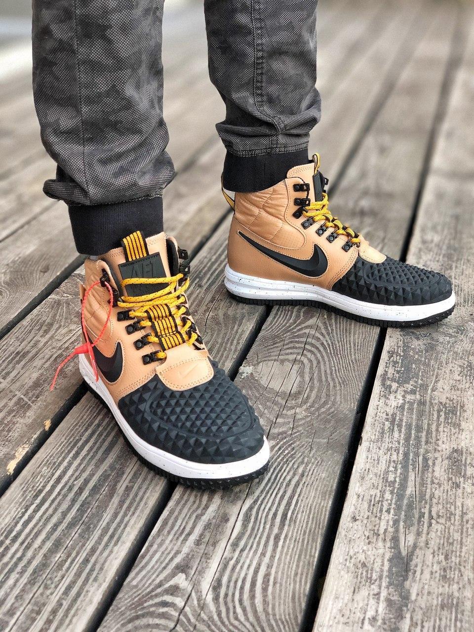 Чоловічі кросівки Nike Lunar Force 1 Duckboot Коричневі (Репліка ААА+)