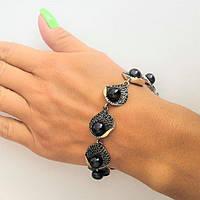 Серебряный браслет с чорным жемчугом Вена, фото 1