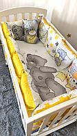 """Постельное белье в детскую кроватку с защитой """"Тедди"""" с бортиками из подушек Польская бязь"""