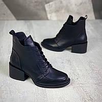 Шкіряні черевики на міні підборах 40 р чорний, фото 1