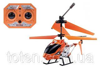 Радиоуправляемый вертолет 3-х канальный, металл каркас, дист 20м, usb кабель, зарядка в пульте 33008 Оранжевый