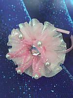 Обруч Коронка розовая с перламутровой юбочкой для девочки, фото 1