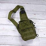 Тактическая сумка-рюкзак, барсетка на одной лямке, хаки. T-Bag 3 Vsem, фото 3