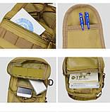 Тактическая сумка-рюкзак, барсетка на одной лямке, хаки. T-Bag 3 Vsem, фото 5