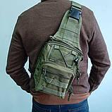 Тактическая сумка-рюкзак, барсетка на одной лямке, хаки. T-Bag 3 Vsem, фото 10