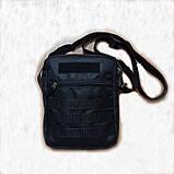 Черная мужская тактическая сумка барсетка, мессенджер., фото 2